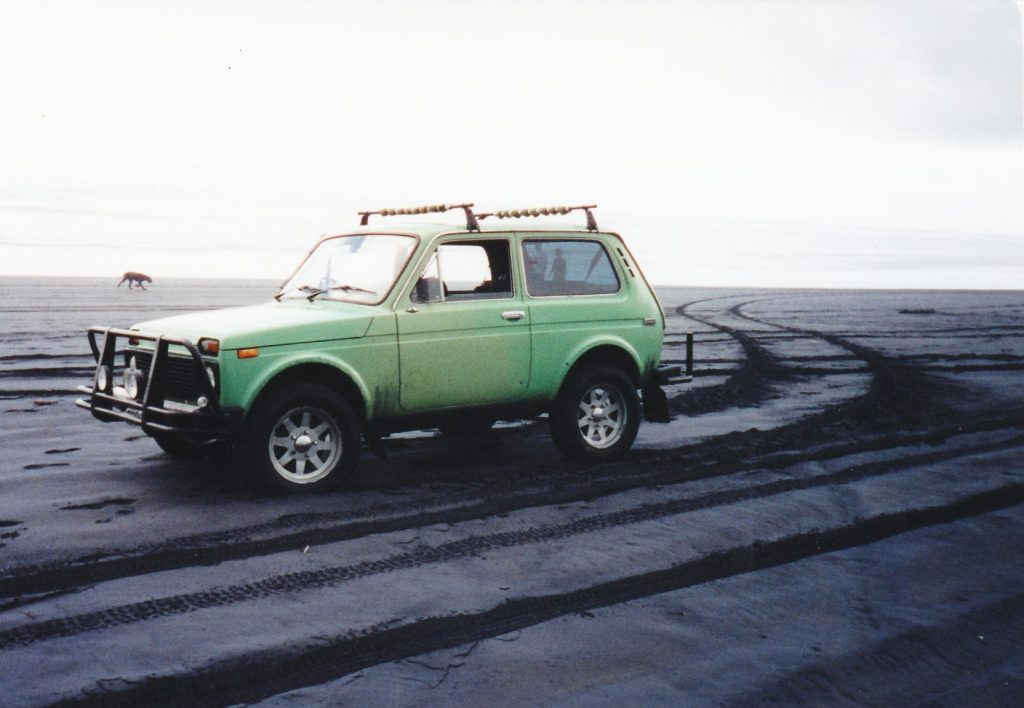 1986 Lada Niva on Muriwai Beach