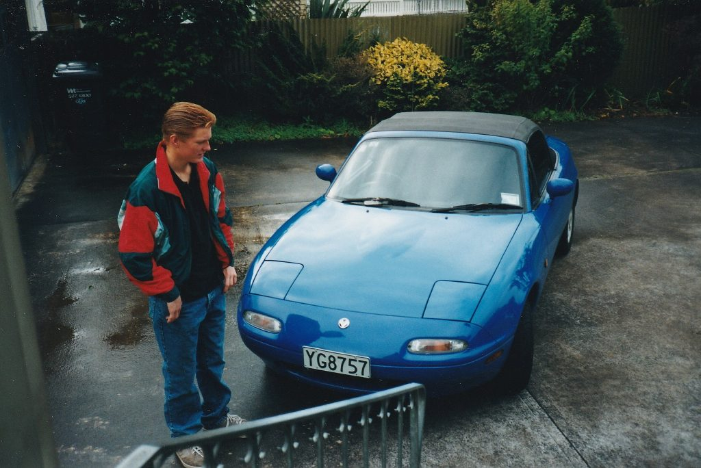 1991 Mazda MX5 with my terrible 90s hair